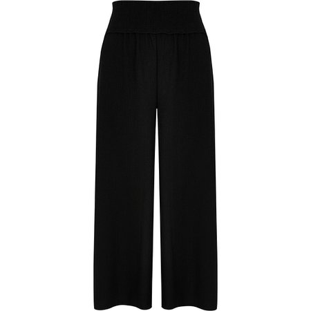 Black shirred waist culotte trousers   River Island