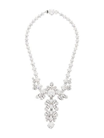 Miu Miu Queen Crystal Embellished Necklace 5JC6952D7V Silver | Farfetch