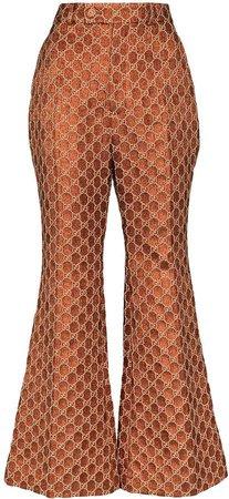 Jacquard monogram flared trousers