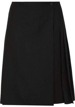 Pleated Wool Skirt - Black