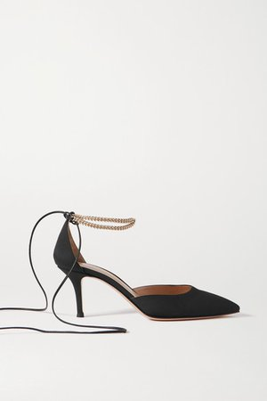70 Chain And Leather-trimmed Satin Pumps - Black