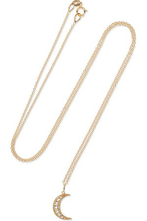Andrea Fohrman | Crescent Moon 18-karat gold diamond necklace | NET-A-PORTER.COM