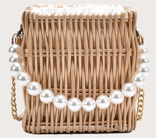 faux pearl handle rattan woven bucket bag