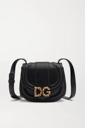 Amore Embellished Leather Shoulder Bag - Black