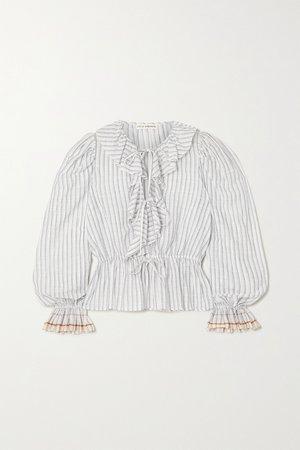 Light gray Kalila ruffled striped cotton-voile blouse   ULLA JOHNSON   NET-A-PORTER