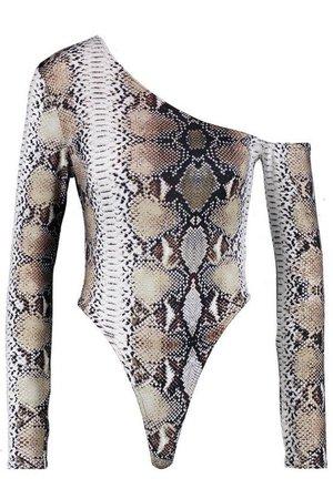 Kyha Asymmetric Snake Print Bodysuit | Boohoo