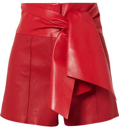 Bow-detailed Leather Shorts - Red