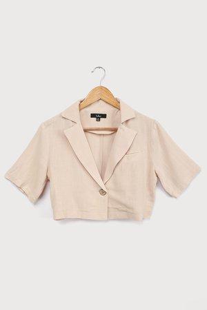 Beige Linen Top - Collared Top - Short Sleeve Crop Top - Lulus