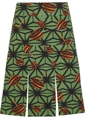 Printed Cotton-twill Mini Skirt