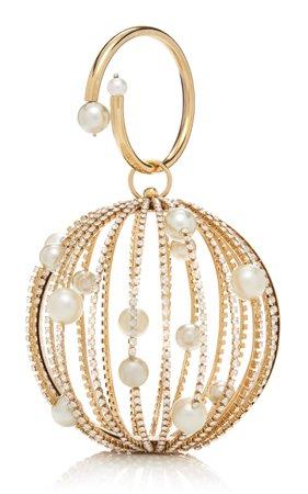 Rosantica Sasha Crystal And Faux Pearl Gold-Tone Wristlet