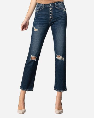Flying Monkey High Waisted Distressed Button Fly Straight Cropped Jeans