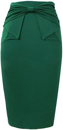 VFSHOW Womens Pleated Bow High Waist Slim Work Office Business Pencil Skirt at Amazon Women's Clothing store