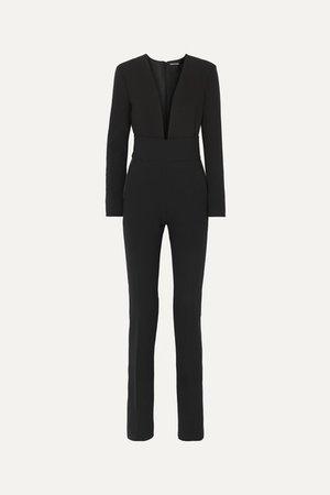 Silk Satin-trimmed Wool-blend Jumpsuit - Black
