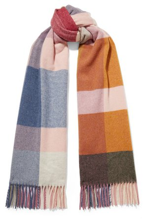 Holzweiler | Burbot fringed checked wool and cashmere-blend scarf | NET-A-PORTER.COM