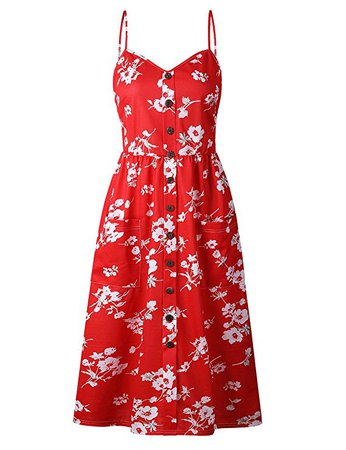 GRACIN Women's Summer Floral Sundress Spaghetti Strap A-Line Swing Midi Dress with Pockets (Size M, Floral Red) at Amazon Women's Clothing store: