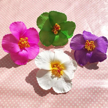 Large hibiscus hair flower in pink green purple or white   Etsy