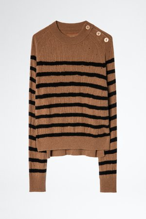 Pull Lili Stripes Destroy Cachemire - pull femme | Zadig&Voltaire