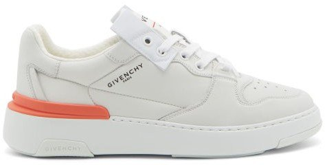Wing Grained-leather Trainers - White Multi