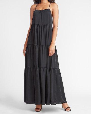 Tiered Cross-Back Maxi Dress