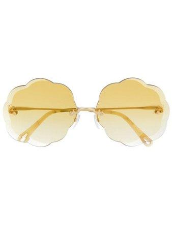 Chloé Eyewear Scalloped Sunglasses CE156S Gold | Farfetch