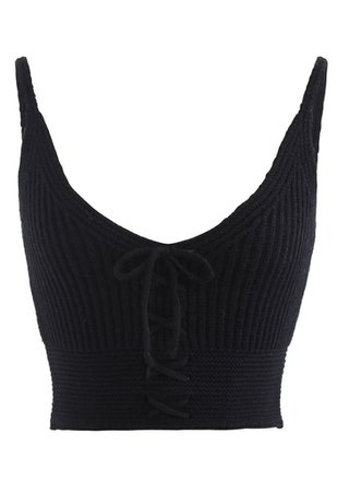 Lace-Up Crop Rib Knit Tank Top in Black - Retro, Indie and Unique Fashion