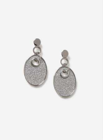 Silver Glitter Oval Earrings | Dorothy Perkins