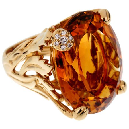 Christian Dior 44.5 Carat Citrine Diamond Cocktail Yellow Gold Ring For Sale at 1stDibs