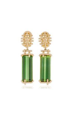 18k Yellow Gold Tourmaline, Diamonds Earrings By Goshwara   Moda Operandi