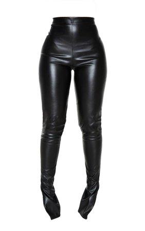 Petite Black Faux Leather Split Hem Leggings | PrettyLittleThing USA
