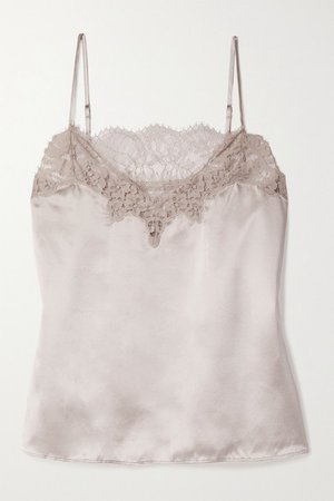 The Candice Lace-trimmed Silk-charmeuse Camisole - Beige