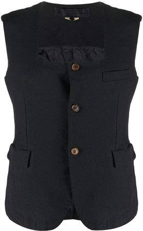 button-down sleeveless blouse