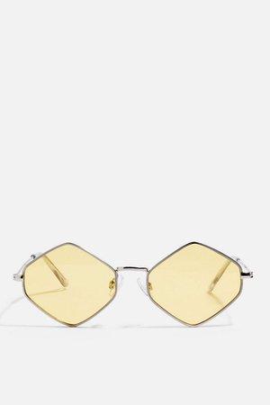 Metal Hexagon Yellow Sunglasses   Topshop