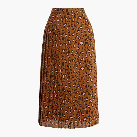 Printed long pleated midi skirt