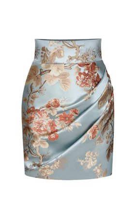 Draped Floral Jacquard Mini Skirt By Rasario | Moda Operandi