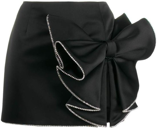 satin bow mini skirt
