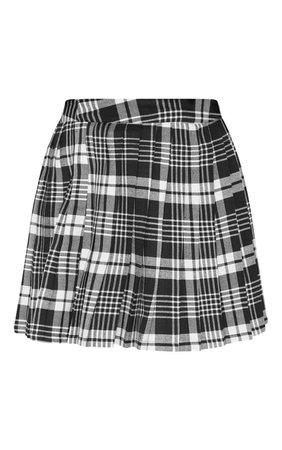 Black Woven Check Pleated Tennis Skirt | PrettyLittleThing