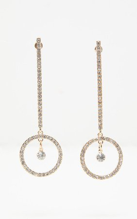 Gold Diamante Drop Circle Earrings   PrettyLittleThing USA