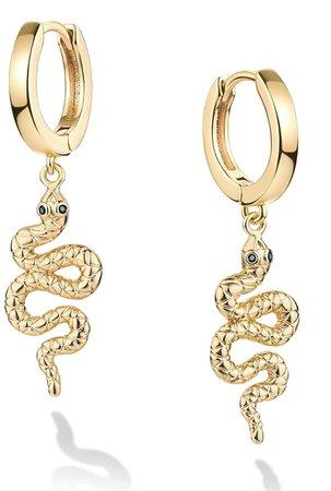 Gold Snake Hoop Earrings
