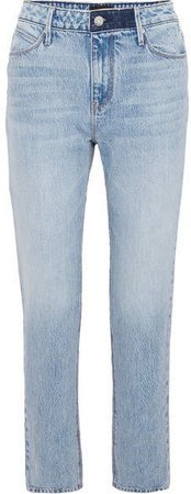 Luke Distressed High-rise Straight-leg Jeans - Light blue