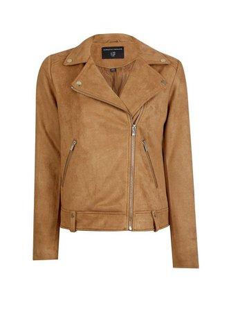 Tan Suedette Biker Jacket | Dorothy Perkins