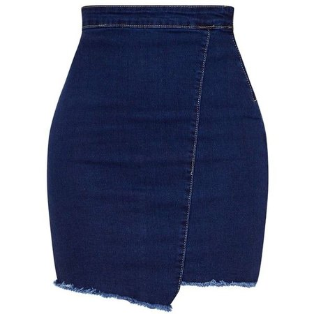 Indigo Frayed Hem Wrap Mini Skirt ($30)