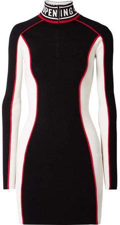 Optic Intarsia-trimmed Color-block Stretch-knit Mini Dress - Black