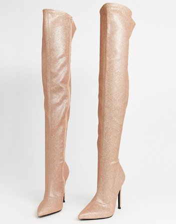 ASOS DESIGN Luxe Kendra stiletto thigh high boots in rose gold | ASOS rose gold