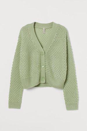 Moss-knit Cardigan - Green