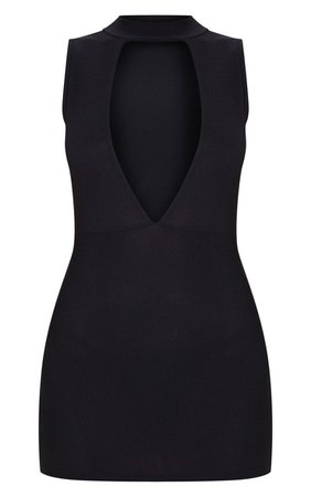 Black Plunge High Neck Bodycon Dress   PrettyLittleThing
