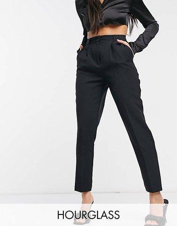 ASOS DESIGN Hourglass tailored natty tapered pants in black   ASOS