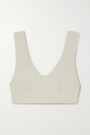 Gray green Cropped ribbed-knit top | LOW CLASSIC | NET-A-PORTER