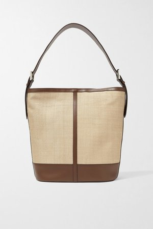 Leather-trimmed Woven Fique Tote - Beige