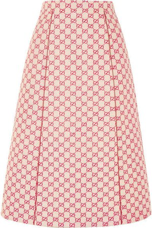 Printed Cotton-blend Canvas Midi Skirt - Red