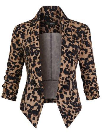 LE3NO Womens Casual Lightweight Leopard Print Blazer Jacket   LE3NO